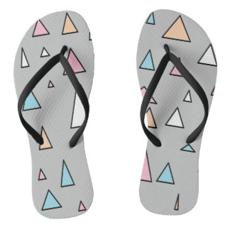 Funky Triangles Pastel Colors Flip Flops