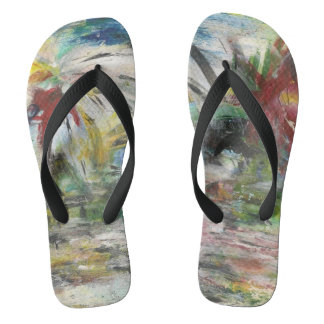 Funky Tropical Abstract Fireworks Flip Flops