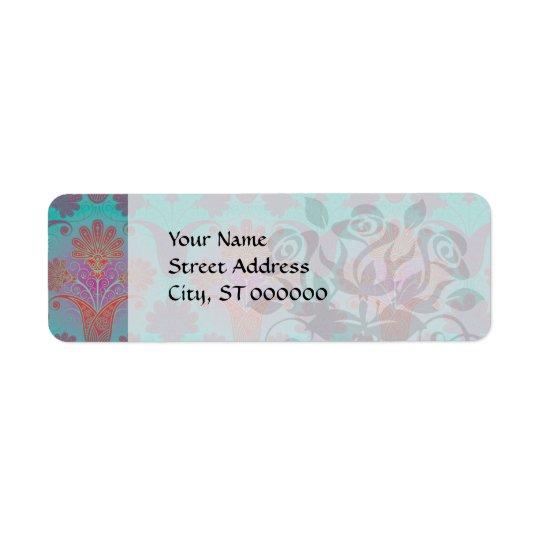 funky turquoise and magenta  damask return address label