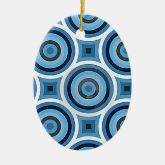Funky Turquoise Blue Circles Pattern Ceramic Oval Ornament