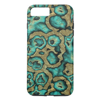 Funky Turquoise Green Faux Gold Swirls Pattern iPhone 7 Plus Case