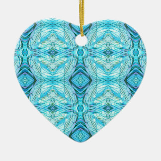 Funky Turquoise Modern Pattern Ceramic Ornament