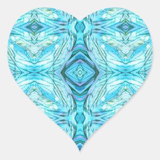 Funky Turquoise Modern Pattern Heart Sticker