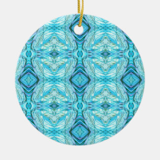 Funky Turquoise Modern Pattern Round Ceramic Ornament