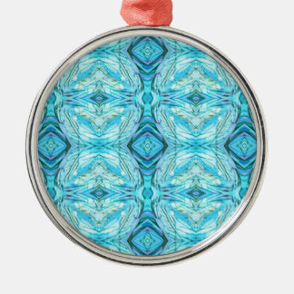Funky Turquoise Modern Pattern Silver-Colored Round Ornament