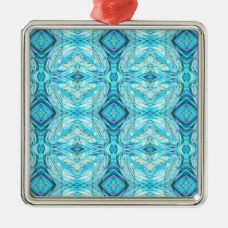 Funky Turquoise Modern Pattern Silver-Colored Square Ornament