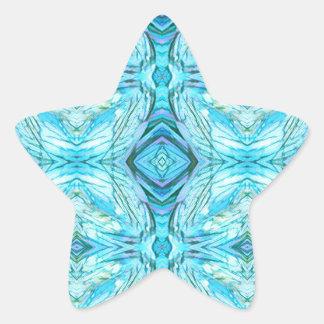 Funky Turquoise Modern Pattern Star Sticker