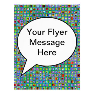 Funky Turquoise Textured Mosaic Tiles Pattern Flyer Design