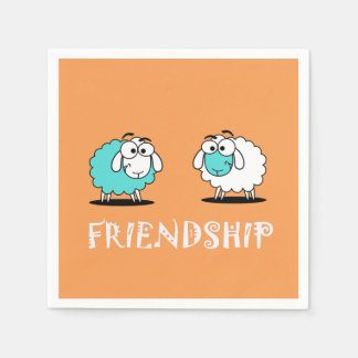 Funky Two Sheep Friendship Paper Napkin