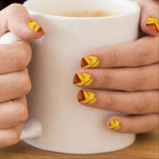 Funky Unique Abstract in Shades of Gold and Yellow Minx Nail Art