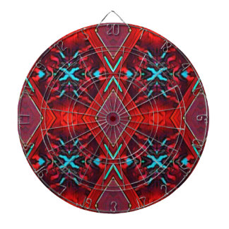 Funky Vibrant Red Turqouise Artistic Pattern Dartboard