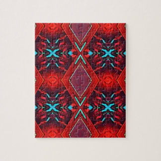 Funky Vibrant Red Turqouise Artistic Pattern Jigsaw Puzzle