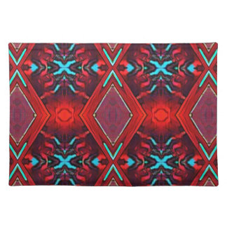 Funky Vibrant Red Turqouise Artistic Pattern Placemat