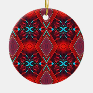 Funky Vibrant Red Turqouise Artistic Pattern Round Ceramic Ornament