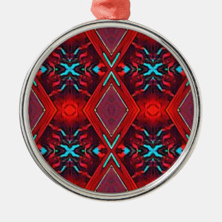Funky Vibrant Red Turqouise Artistic Pattern Silver-Colored Round Ornament