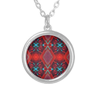 Funky Vibrant Red Turqouise Artistic Pattern Silver Plated Necklace