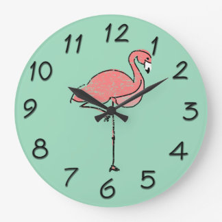 Funky Vintage Pink Flamingo Blue Clocks