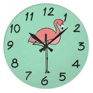 Funky Vintage Pink Flamingo Blue Large Clock