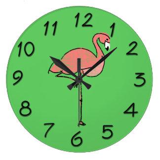 Funky Vintage Pink Flamingo Green Clock
