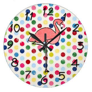 Funky Vintage Pink Flamingo Polka Dots Wall Clock