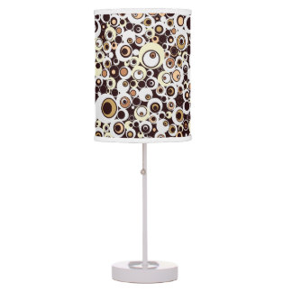 Funky Vintage Retro Circles in Brown & White Table Lamp