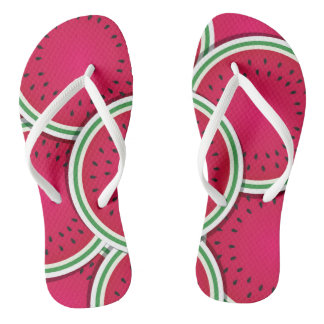 Funky watermelon slices flip flops