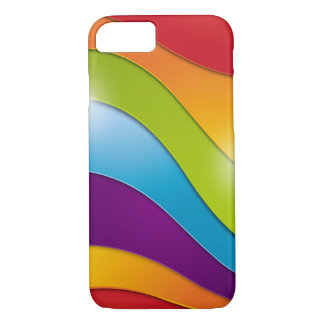 Funky Wavy Rainbow Striped Pattern multi Colored iPhone 7 Case