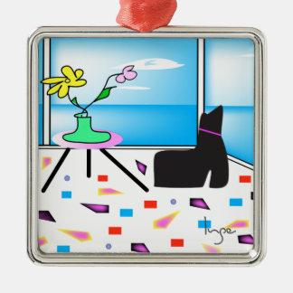 Funky Whimsical Colorful Miami, Graphic Silver-Colored Square Ornament