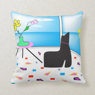 Funky Whimsical Miami Abstract Colorful Throw Pillow