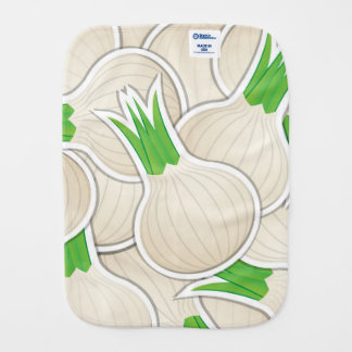 Funky white onions baby burp cloth