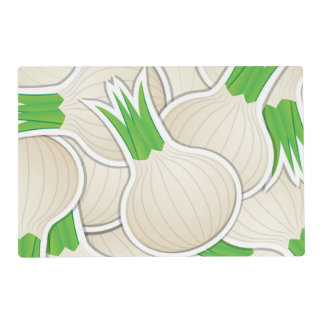 Funky white onions laminated place mat
