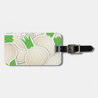 Funky white onions luggage tag