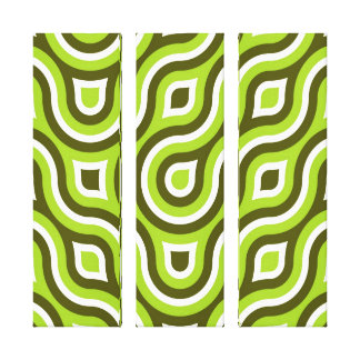 Funky Wild Circle Retro Pattern Lime Green White Canvas Print