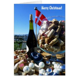 Funky Wine & Danish Flag Christmas Card! Card