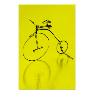 Funky yello bicycle Poster