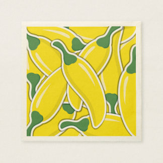 Funky yellow chilli peppers disposable napkin