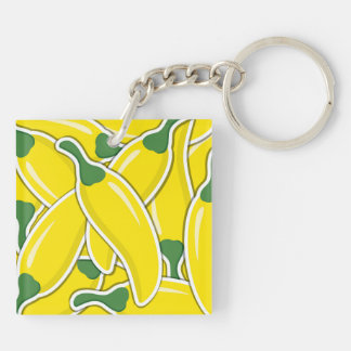 Funky yellow chilli peppers Double-Sided square acrylic keychain