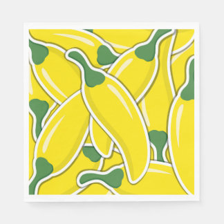 Funky yellow chilli peppers paper napkins
