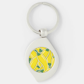 Funky yellow chilli peppers Silver-Colored swirl keychain