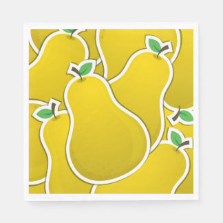Funky yellow pear disposable napkins