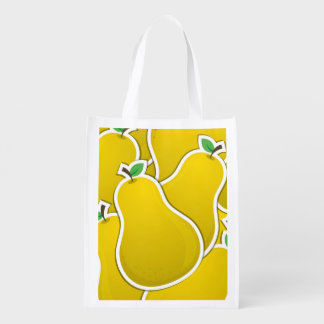 Funky yellow pear grocery bag
