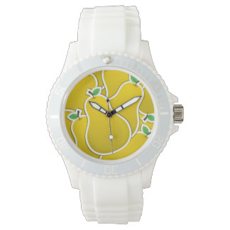 Funky yellow pear wristwatches