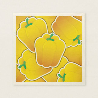 Funky yellow pepper disposable napkins