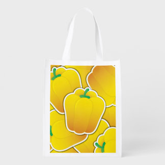 Funky yellow pepper reusable grocery bag