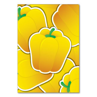 Funky yellow pepper table card