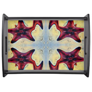 Funky Yellow Red Connecting Star Fish Serving Tray