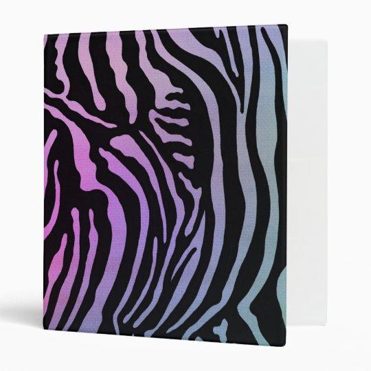 Funky Zebra Pastel Rainbow Binder