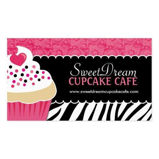 Funky zebra print cupcake bakery business cards zazzle for Cupcake business card