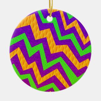 Funky Zig~Zag Round Ceramic Ornament