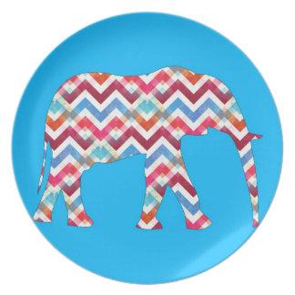 Funky Zigzag Chevron Elephant on Teal Blue Dinner Plates